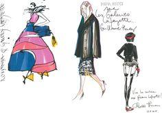 Designer fashion sketches for Galeries Lafayette