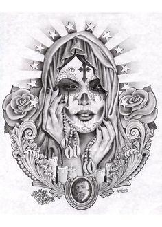 santa muerte by mouse lopez black white paper saint death prison fine art print prison-art chicano-art chollo-art drawings tattoo-girl