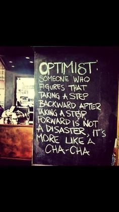 Let's try not to do the cha-cha too often, but when we must take a step back, let's always remember this dance move still leads forward.