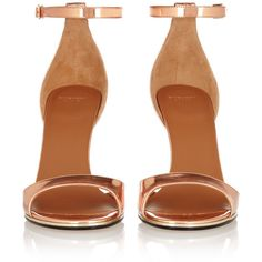 Givenchy Mirrored-leather sandals in rose gold ($450) ❤ liked on Polyvore featuring shoes, sandals, heels, sapatos, high heels, ankle wrap shoes, heeled sandals, round toe shoes, round cap and givenchy