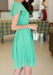 Stylish Scoop Neck Solid Color Short Sleeve Chiffon Dress For Women - WATER BLUE M
