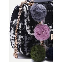 SheIn(sheinside) Black Woolen Mini Shoulder Bag With Colored Pom Pom (37 BAM) ❤ liked on Polyvore featuring bags, handbags, shoulder bags, woolen purse, wool purse, chain purse, mini purse and wool handbag