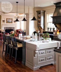 Farmhouse kitchen Ric and Shirley worked with their cabinetry company to create the look of an unfitted farmhouse kitchen. The large island was in their dream book after living with a small galley kitchen in their previous home. One end of the island is equipped with a prep kitchen sink for modern functionality, but its added-on appearance makes it look like an old-fashioned pastry counter. STYLEATHOME.COM October 2012