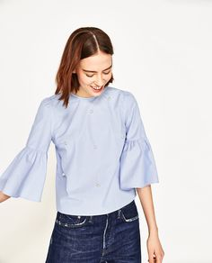ZARA - WOMAN - TOP WITH PEARL BUTTONS
