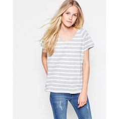 Vila Dreamers Striped U Neck T-Shirt (32 CAD) ❤ liked on Polyvore featuring tops, t-shirts, grey, relaxed tee, scoop-neck tees, jersey t shirts, striped t shirt and striped tee