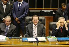 Cunha, Renan e o presidente do STF, Ricardo Lewandowski, na reabertura dos trabalhos no Congresso
