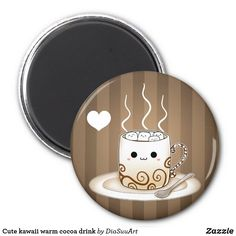 Shop Cute kawaii warm cocoa drink magnet created by DiaSuuArt. Kawaii Faces, Kawaii Cute, Kawaii Stuff, Circle Magnets, Round Magnets, Anime Coffee, Drinks Fridge, Cocoa Drink, Art Pad