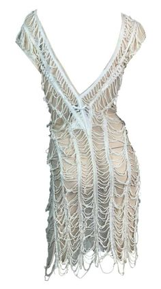 Jean Paul Gaultier, Day Dresses, 1990s, Cotton Spandex, Crochet Top, Lace, Fabric, Clothes, String Theory
