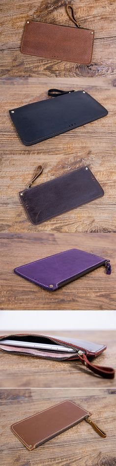 Handmade leather vintage women long wallet clutch zip phone purse wallet