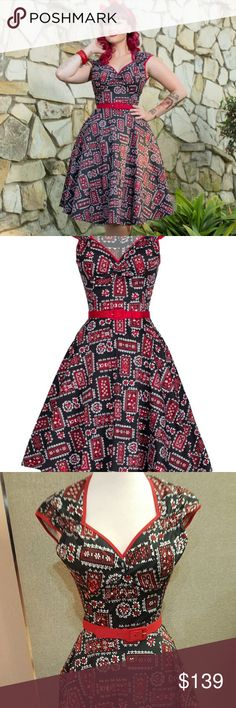 Pinup Couture Heidi Dress Bandana Print Truly a Pug classic, the Heidi dress looks great on everyone! This playful dress is comfy and stylish at the same time, and the newer bandana print is so cute! Comes with belt and zips up the back. This dress is brand new with tags, and comes with a complimentary black or white petticoat, while supplies last.. don't wait!! Pinup Couture Dresses