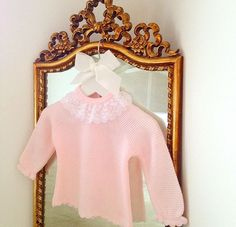 One of our new arrivals 'Tami', stunning pale pink jumper with lace collar and knitted bottoms to match.  Purchase at bellaandlucella.com