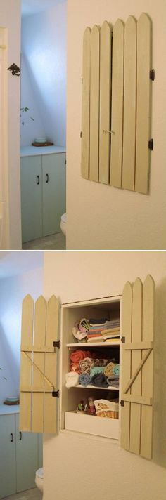 DIY Cabinet Shutters (interesting idea...could do for multiple purposes..old clothes shoot in walls,  hide electric panels)