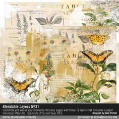 Blendable Layers No. 31 #collageart #ephemera #collaged #vintage #butterfly #garden #photoshop #digitalart #instantdownload #diy #scrapbook #painted #designerdigitals