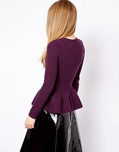 Ted Baker Cable Knit Jumper with Peplum Hem | ASOS
