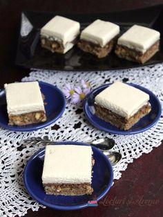 Prăjitură Parlament în altă variantă decât cea clasică. Prăjitură cu blat din albușuri cu nucă, cremă de ciocolată, biscuiți și cremă de gălbenuș cu frișcă. Desserts, Food, Pastries, Sweets, Pies, Tailgate Desserts, Deserts, Essen, Postres