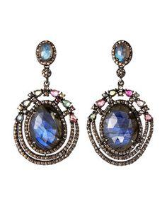 Bavna Tourmaline, Sapphire & Diamond Earrings