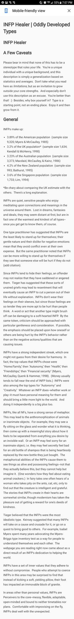 More INFP facts...