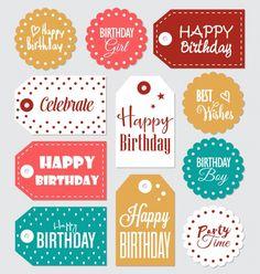 Colección de etiquetas de cumpleaños Vector Gratis