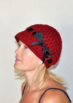 6472069875d Brim Hat Brim Beanie Newsboy Cap CHOOSE COLOR Cranberry Red Crimson Crochet  Winter Women Girly Gift under 50