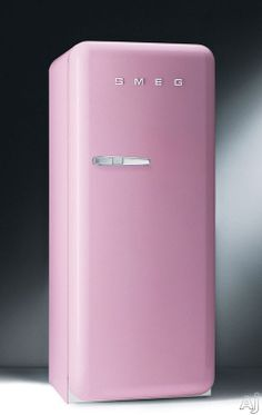 i LOVE IT >.. and it comes in PINK  Smeg FAB28U 9.22 cu. ft. 50's Style Refrigerator with Antibacterial Interior, Ice Compartment and Adjustable Glass Shelves