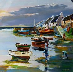 "Christian Jequel - ""Kleine haven bij eb"" - Bretagne - My Bilder Art Gallery, Painting Gallery, Landscape Art, Landscape Paintings, Sailboat Painting, Boat Art, Pastel Art, Beautiful Paintings, Watercolor Paintings"