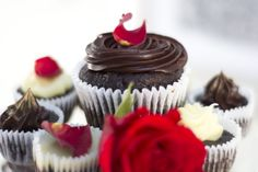 Chocolate and rose cupcakes