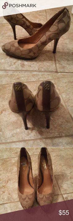 Coach heels Tan coach heels Coach Shoes Heels