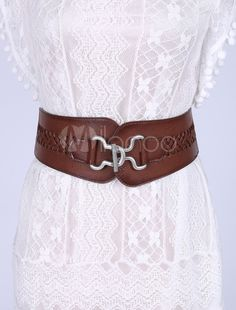 63d02cdd2f59 Ceintures de taille large élastique cuir Corset ceinture Vintage femmes  tresses avec serrure argent