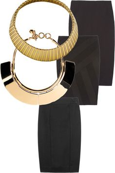 Gold Necklace to match Black Pencil Skirt Office Fashion, Work Fashion, Skirt Fashion, Spring Fashion, Fashion Design, Work Outfits, Dresses For Work, Work Clothes, Clothes For Women
