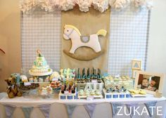 Dessert table at a baby toys baptism party! See more party planning ideas at CatchMyParty.com!