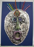 There's a Dragon in my Art Room: African-inspired tooling foil relief masks.using India ink and soap African Masks, African Art, 6th Grade Art, India Art, Masks Art, Art Lesson Plans, Graphic Design Art, Teaching Art, Working Hard