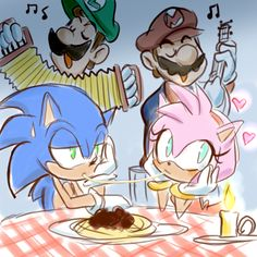 "Super Mario bros and Sonic the hedgehog spoofing Disney's ""Lady and the Tramp"". Sonic and Amy as Lady and Tramp, and Mario and Luigi as the italian restaurant owners. You don't know how much this made my day, ROFL!"