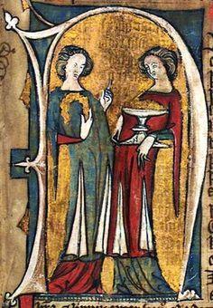 GKS 1154 2º, f 32r. The Hardenberg codex. Norwegian laws, 14th century  More split skirts. Plus great color scheme.