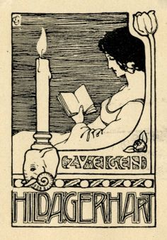 Ex libris by Carl Egg  (Ger) (1876-1956) for Hilda Gerhart, 1900c.