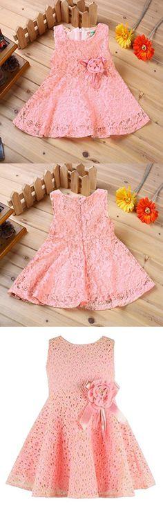Rorychen Baby Girls' Sleeveless Lace Zipper Dress Pleated Skirt Classic Veil Dress 6 Months Light Pink