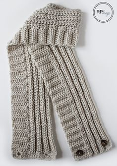 Andy Button Scarf Crochet Pattern by Rescued Paw Designs