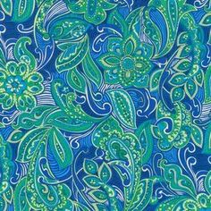 Robert Kaufman House Designer - London Calling Lawn 4 - Blooming Paisley in Blue