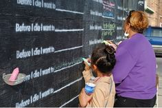 """This is a TED talk by the artist who started the """"Before I die"""" walls around the world as a means of helping her appreciate and clarify the beauty of life. It had the added benefit of letting her know that she was not alone in taking these things for granted and it serves as a reminder to live in the present. #CaregiverSupport"""