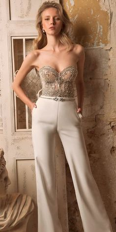 Trend 2018: 27 Wedding Pantsuit And Jumpsuit Ideas ❤ See more: http://www.weddingforward.com/wedding-pantsuit-ideas/ #weddingforward #bride #bridal #wedding