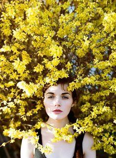 女性が花に包み込まれるような1枚。 枝に咲く満開の花の中に立てばこんな美しい写真になります。