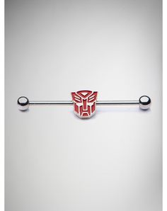 Transformers 14 Gauge Red Autobot Transformer Industrial Barbell from Spencers Gifts. Industrial Earrings, Industrial Piercing Jewelry, Industrial Barbell, Industrial Bars, Ear Piercings Tragus, Cartilage Earrings, Piercing Tattoo, Gauges, Body Jewelry