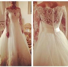 Real Picture New 2016 Wedding Dresses Ball Gowns Sheer A-line Off Shoulders Elegant Long Sleeve Bridal Dress Covered With Button Cover Online with $122.83/Piece on Hjklp88's Store
