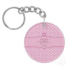 Pink white Polka dot Flower Mothers Day key chain (double-sided) by #PLdesign #MothersDay