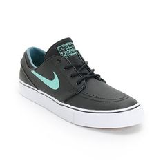 Grab some instantly refreshing new kicks with the Nike SB Zoom Stefan Janoski Black, Crystal Mint, & Night Factor leather shoe. Be free to stomp huge landings with a Nike Zoom Air insole with air pocket, Nike SB herringbone tread, vulcanized construction,