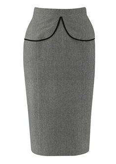 [Código: FAL0021] Falda gris tipo tubo con detalles en la cintura