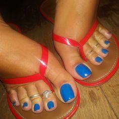 Swipe that blue . Pretty Toe Nails, Cute Toe Nails, Pretty Toes, Feet Soles, Women's Feet, Blue Pedicure, Pies Sexy, Long Toenails, Nice Toes