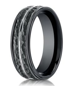 hammered finish designer cobalt chrome ring for men in black 8mm