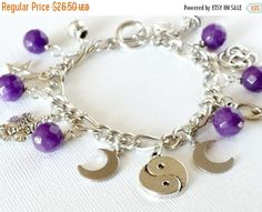 ON SALE Wiccan Ways Charm Bracelet in Purple Jade Hand Crafted By Isis Creations ~Yule Wear & Gift Idea Wiccan Pagan Spiritual Witch Artisan by IsisCreationz on Etsy