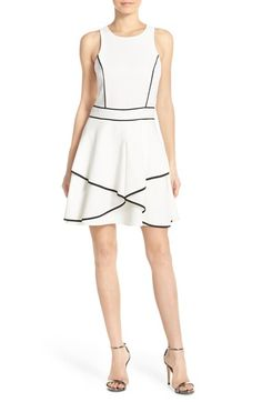 Adelyn Rae Piped Crepe Fit & Flare Dress available at #Nordstrom
