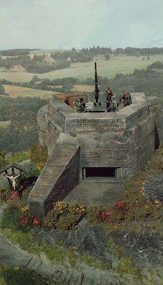 40k Terrain, Wargaming Terrain, Military Photos, Military History, Bunker, Flak Tower, German Soldiers Ww2, Model Tanks, Military Modelling